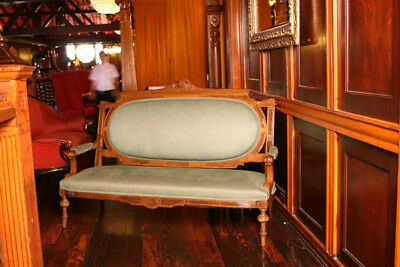 Antique Victorian 2 Piece  Rococo Sofa Settee and Parlor Chair 1800s
