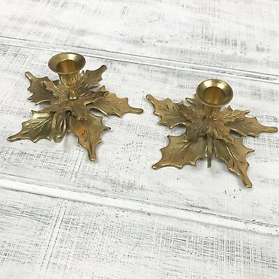 Vintage Brass Maple Leaf Taper Candlestick Holders Set of Two (2) Made In India