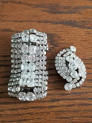 VINTAGE Huge Art Deco Clear Rhinestone Hinged Bangle Bracelet & Brooch Set