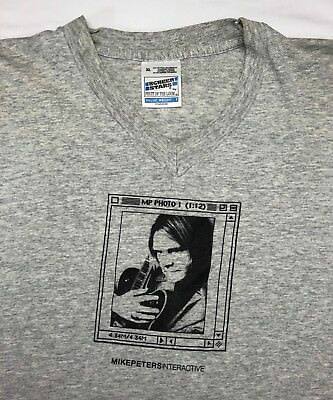 Vintage Mens XL 90s Mike Peters The Alarm Interactive Tour Concert Gray T-Shirt