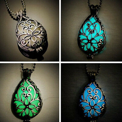 Unique Wishing Tear Drop Magical Glow in the Dark Steampunk Pendant Necklace PIC