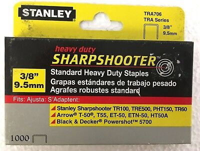 Stanley TRA706 3/8 Heavy Duty Sharpshooter Staples (1,000 Pack)