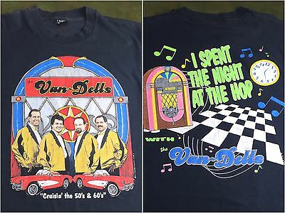 Vintage Mens L 1991 Van-Dells Screen Stars Oldies Musical Concert Tour T-Shirt