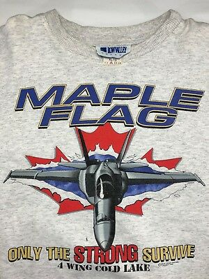 Vintage Mens XL 1996 90s Royal Canadian Air Force Maple Flag Gray Sweatshirt