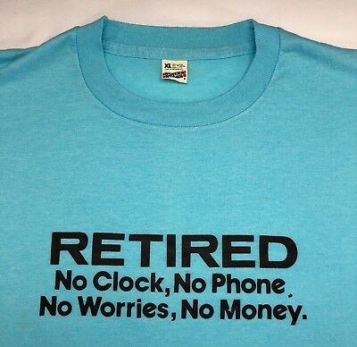 "Vintage Mens XL 80s Screen Stars Funny Retired ""No Money"" Baby Blue T-Shirt"