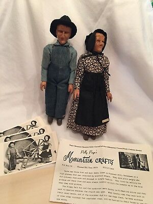 Vintage Polly Page Pair of Hand Carved Wooden Character Dolls FREE SHIPPING