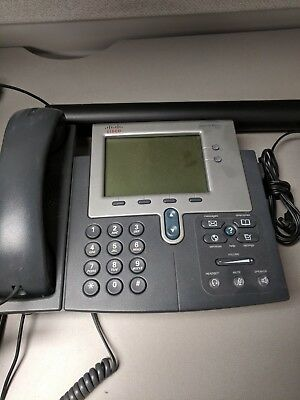 Cisco phone 7942g telephone w/AC adapter+HL10 Lifter+10ft Cat6 ethernet - used