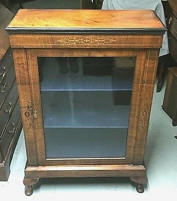Antique Victorian Inlaid Mahogany Display Cabinet with Key & working lock