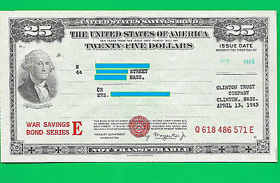 UNITED STATES WAR saving Bond Series E 1945 $25.00 SERIES E  Q618 486 571 E UNC