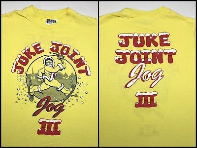 Vintage Mens S 1988 Eskimo Joes Juke Joint Jog Race Run Marathon Yellow T-Shirt