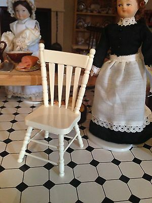 1 12th scale  WOOD WHITE KITCHEN CHAIR  /country   DOLLSHOUSE
