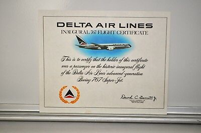 DELTA AIR LINES INAUGURALl 767 FLIGHT CERTIFICATE