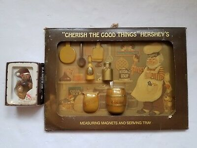 Hersheys 1985 Cherish The Good Things Measuring Cup Magnets & Tray & Ornament