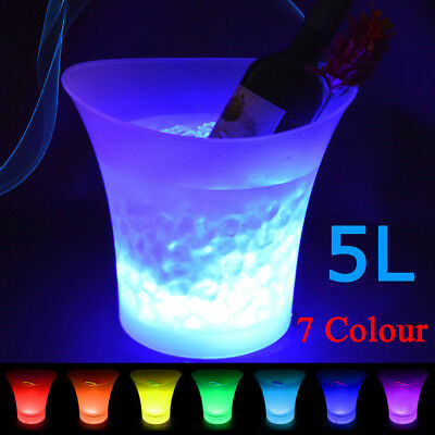 5L LED Ice Bucket 7 Colours Changing Champagne Wine Drinks Cooler Bar Party Xmas