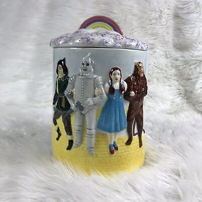 The Wizard of OZ There's no place like home Cookie Jar Rainbow Lid 1998 Vintage