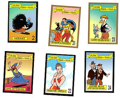 6 x Carl Barks ! Heroes and Villains ! Sammelkarten Trading Cards Uncle Scrooge