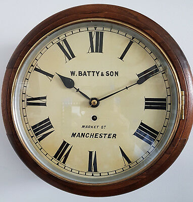 "An excellent 12"" dial 1880s Fusee School/Railway clock by Wm Batty, Manchester."