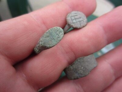 Lot Of 3 Roman Legionary Bronze Rings Rare