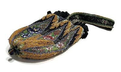 Antique Victorian Micro Glass Beaded Floral Design Patter Purse