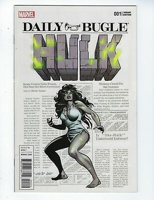 HULK # 1 (Marvel Now! DAILY BUGLE SHE HULK VARIANT, Feb 2017), VF/NM