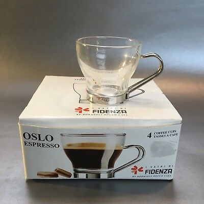 NEW Set Of 4 Fidenza Oslo Glass Espresso Coffee Cups Italian Glass Handles Italy