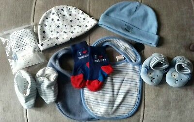 Baby Boys New Baby Accessories Bundle booties hats Mixed Brands Size 0-3 Months