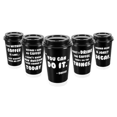 Premium 16oz Disposable Paper Coffee Cups With Lids (50ct) - 5 Fun Quotes