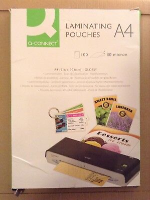 New Stationery 100x Laminating Pouches A4 Glossy Q-Connect KF04114 BNIB