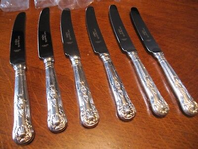 """Set 6 Vintage Smith Seymour Side Knives 8.5"""" Silver Plated Kings Pattern  Unused"""