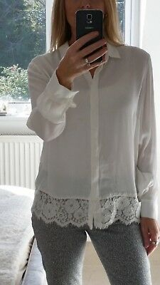 BNWT NEW The White Company Ladies Ivory Lace Hem Blouse Size 12