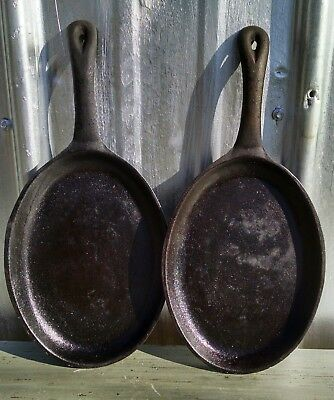 Vintage Cast Iron Fajita Steak Pans Lot of Two Oval Black Heavy Seasoned 9 inch