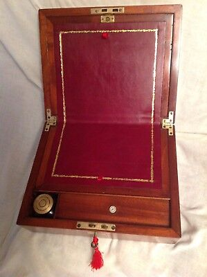 Gorgeous Georgian Solid Mahogany Writing Slope With Working Lock/Key/Inkwell