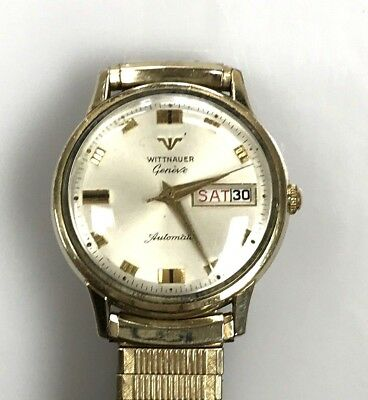 Wittnauer Watch Value >> Mens Vintage Swiss Watch Wittnauer Geneve Automatic Date 10k