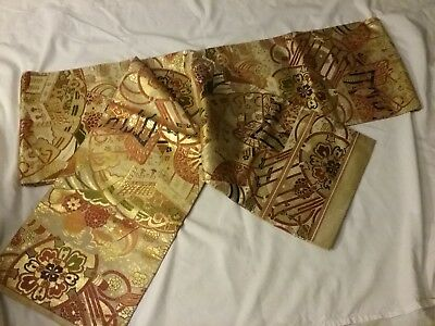 13+ foot Gold-pattern Obi for Oriental Kimono