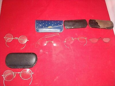 Lot of 5 Antique eyeglasses  most with cases one with hair pin and chain