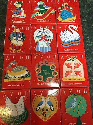 The Twelve Days of Christmas Ornaments, Avon Gift Collection 12 Ornaments new