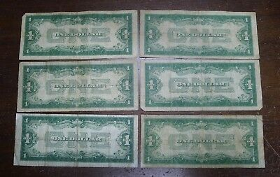 Lot of 6 1928 FUNNY BACK $1 Silver Certificates!