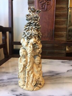 Very Well Carved Vintage Asian Chinese Statue Figurine Man And Women