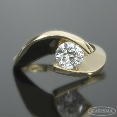 1.06 Ct Wedding Diamond Ring Twisted Round 18K Yellow Gold Vvs Solitaire Estate