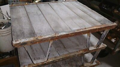 Reclaimed Vintage Antique Industrial Steel and Wood Factory Pallet  LOWERED
