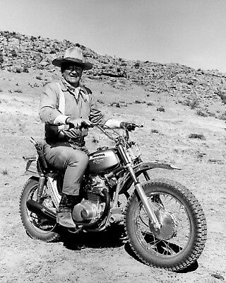 "John Wayne Rides Honda Motorcycle On The Set Of ""Big Jake"" - 8X10 Photo (Oc001)"