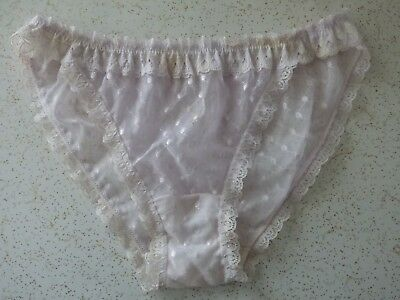 """TRUE VINTAGE Mesh Lace White Embroidery String Thong Panties 24""""-34"""" Waist S M"""