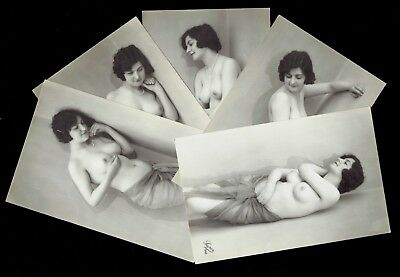 French Nude Real Photo Postcards - Complete Set Of 5 - Luper Model Number 945