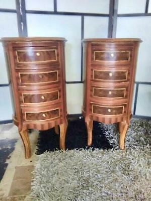 Pair Of French Louis Xv Style 4 Drawer Burr Mahogany Inlay Bedside Cabinets