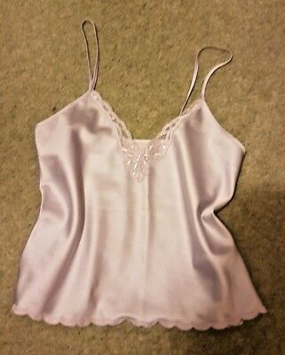 "St Michael Camisole Top in Shiny Lilac Polyester Sz12 ti fit 34"" bust (T107)"