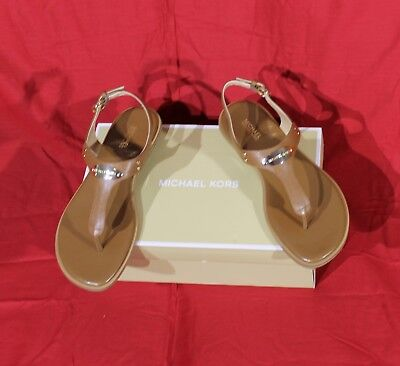 91ebed26d7ed NEW Michael Kors MK Logo Plate Thong Sandals (Luggage Brown) Leather size  7.5