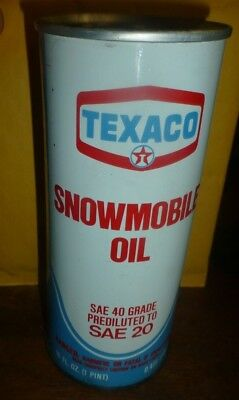 Vintage Texaco Snowmobile Oil  Can Sae 20 1 Pint Full Can  .