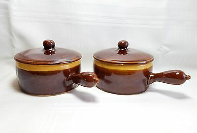 Vintage D V Pottery - Two Soup Bowls With Lids #2148 - Brown & Brownish Yellow