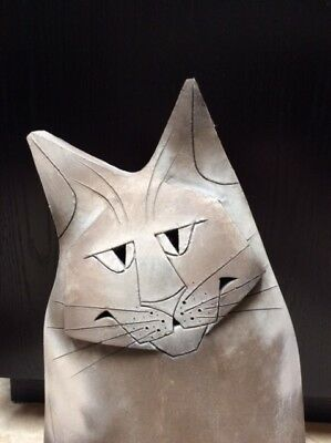 "Early Mary Gates Dewey Studios 18"" Ceramic Cat Sculpture Signed  1982  Number 1"
