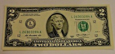 $2.00 Note Crisp New Two $2 Dollar Bill Uncirculated Makes A Great Gift
